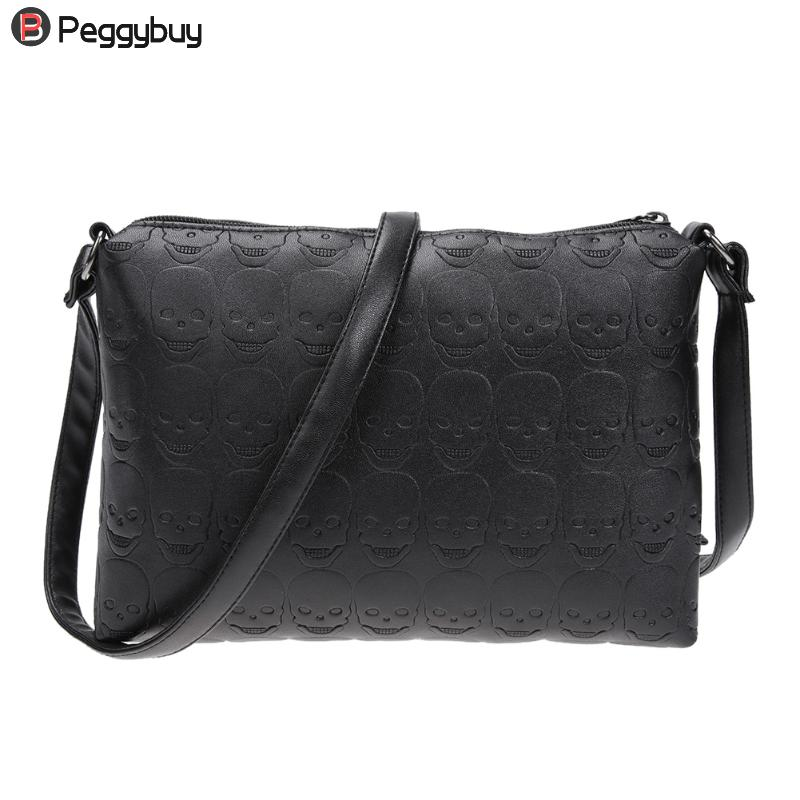 Bolso bandolera de cuero PU con diseño de calavera para mujer, bolso de hombro tipo bandolera pequeño informal con cremallera negra, bolso de hombro tipo sobre