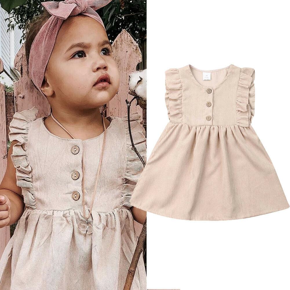 Летнее платье для маленьких девочек, однотонное платье без рукавов с оборками, кружевное платье А-силуэта для вечеринок, От 1 до 6 лет, 2019