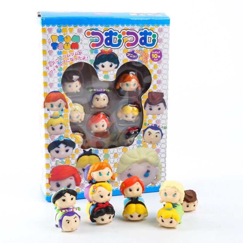 10pcs/set  Mini Figure Figurine Elsa Anna Snow Cinderella Princess Minnie Action Dolls Toy Juguetes For Children Gifts