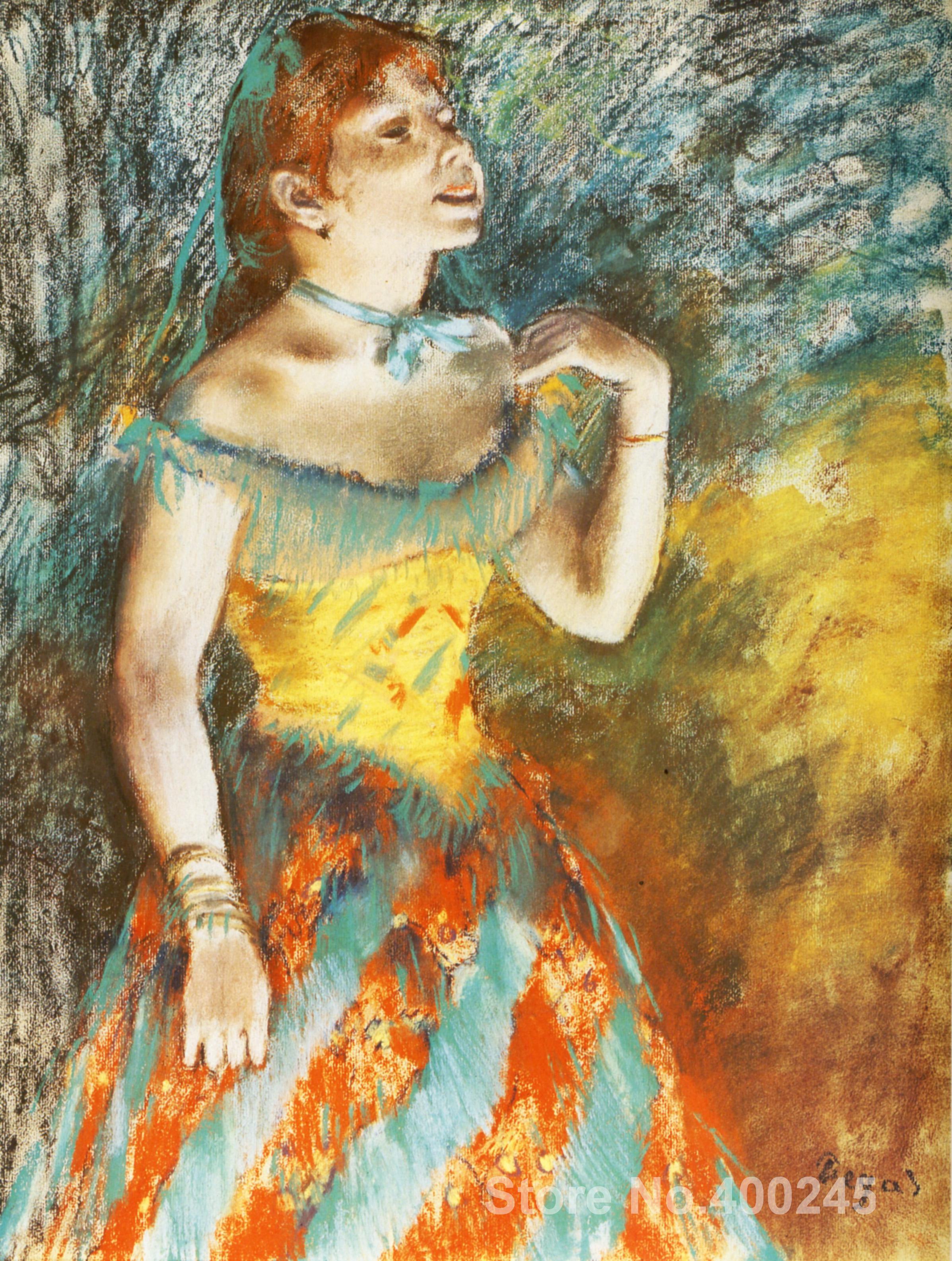 oil paintings Portrait Singer in Green by Edgar Degas modern art High quality Hand painted