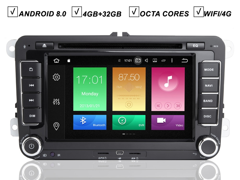 7IPS VW Android 8,0 coche DVD GPS Player para Volkswagen POLO Volkswagen JETTA GOLF PASSAT Tiguan se sentó NAVI Octa Core Radio mapa BT Wifi DAB +