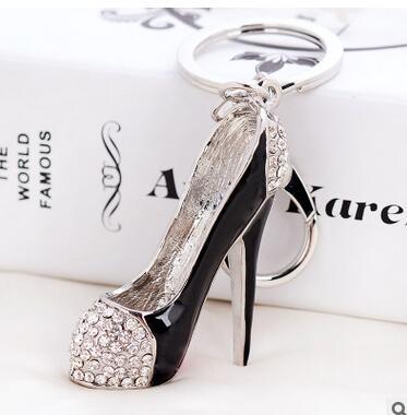 50pcs/lot fede fast  woman fashion high heel keychain lady rhinestone shoes key ring