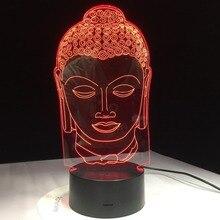 Bouddha lampe bouddhisme 3D lumière LED USB couleur veilleuse décoration Innovation noël cadeau pour bonne chance