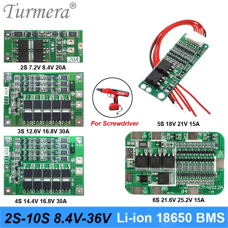 2S 3S 4S 5S 6S 10S Li-ion Lithium Battery 18650 Charger PCB BMS Protection Board For screwdriver battery Lipo Cell Module