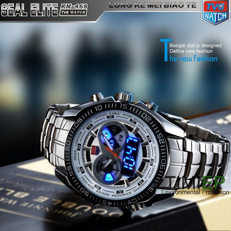 Tvg novo esporte masculino na moda relógio azul binário led ponteiro relógio masculino mergulho relógios digitais à prova dwaterproof água