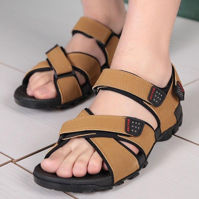 Hgih qualidade sandálias masculinas estilo romano ao ar livre couro dos homens sandálias de praia verão estilo coreano vietnamita plana sandálias