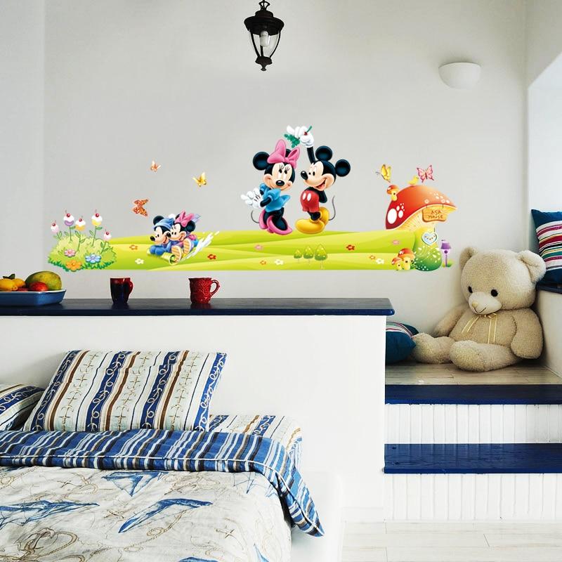 Mickey Minnie Mouse Carton pépinière enfants chambre décalcomanie mur Art autocollant bébé chambre décorative décor Mural