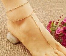 1 pièces alliage couleur or ton chaîne orteil cheville pied chaîne cheville bracelet pour pied sandale tornozeleira feminina