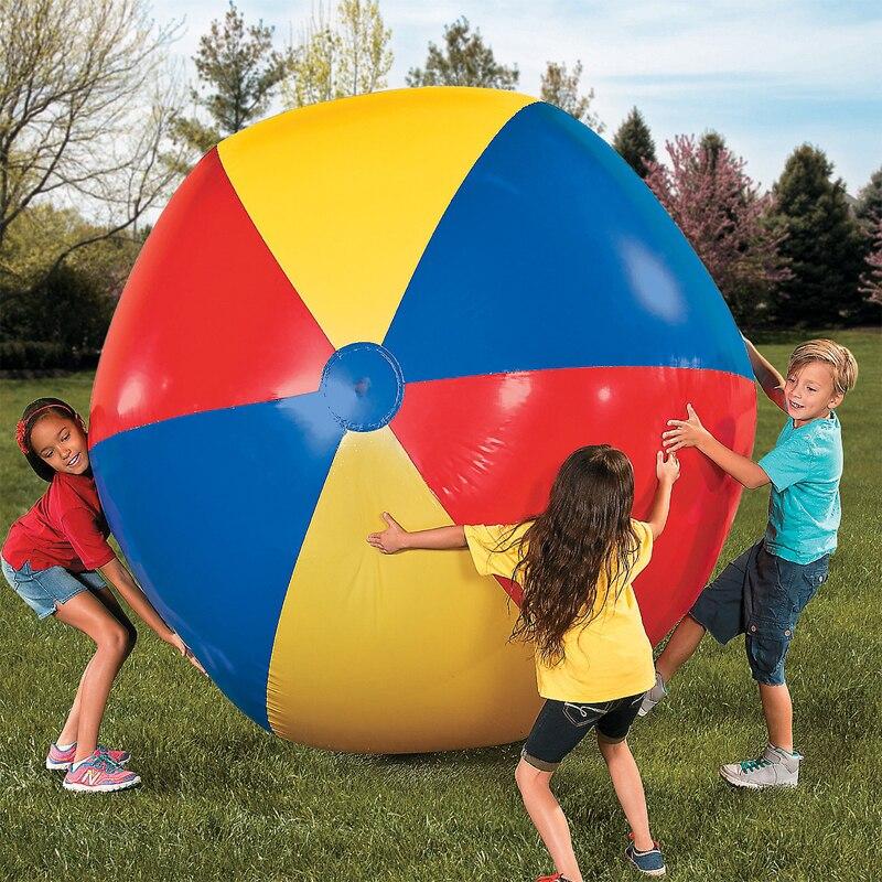 Огромный надувной пляжный мяч, цветной волейбол, 100 см/130 см/150 см, для взрослых и детей, уличный мяч для семьи, сада, лужайки, плявечерние