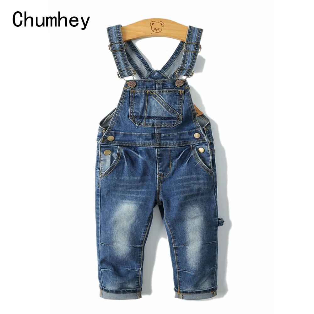 2-8T primavera niños monos pantalones delgados niños niñas suspensor babero pantalones vaqueros niños mono ropa niños ropa
