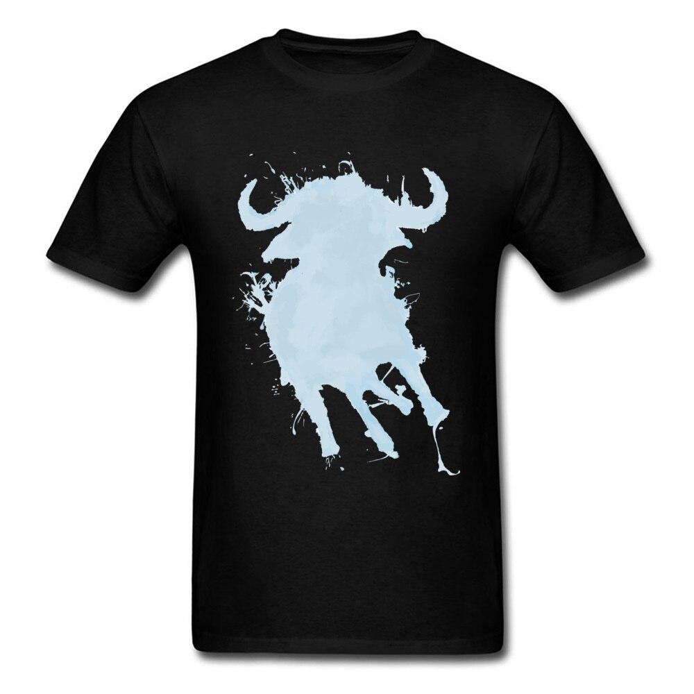 Moda água búfalo camiseta masculina impressão em aquarela animal silhueta masculina manga curta camiseta preta de algodão