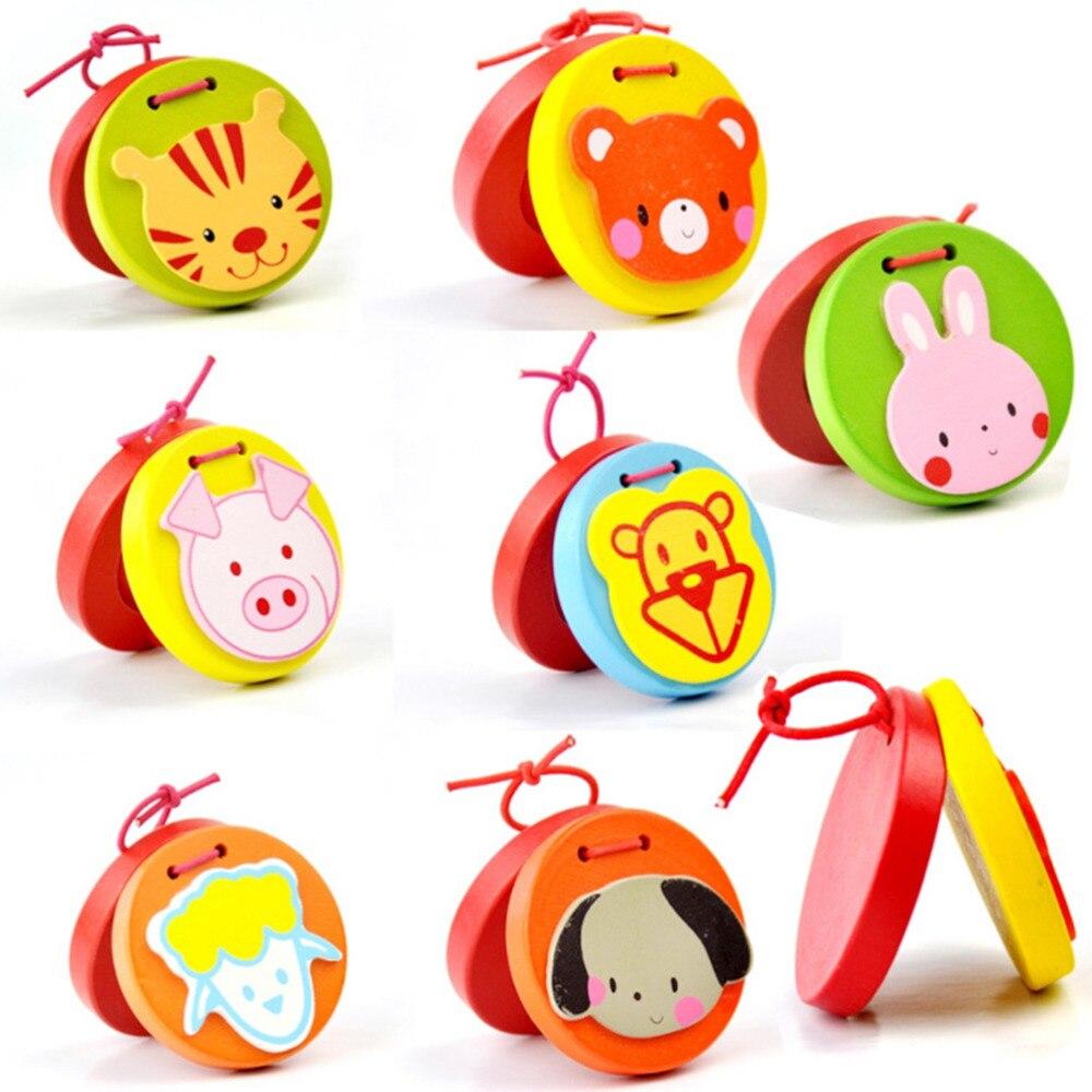 Cartoon Castanets Lovely Kids Wooden Castanet Clapper Handle Musical Instrument Toy