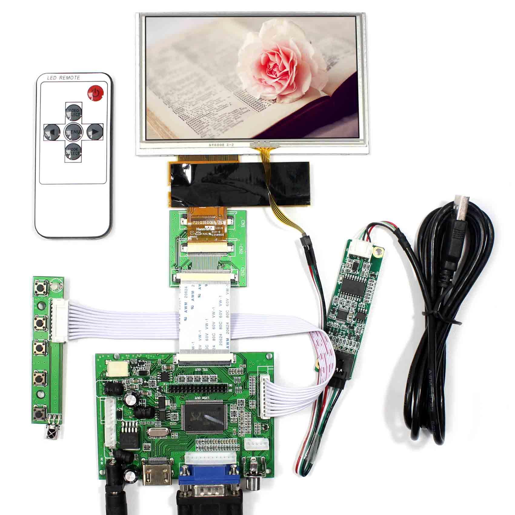 HDMI + VGA + 2AV controlador LCD placa + 5 pulgadas 800X480 HSD050IDW1 LCD con Panel táctil