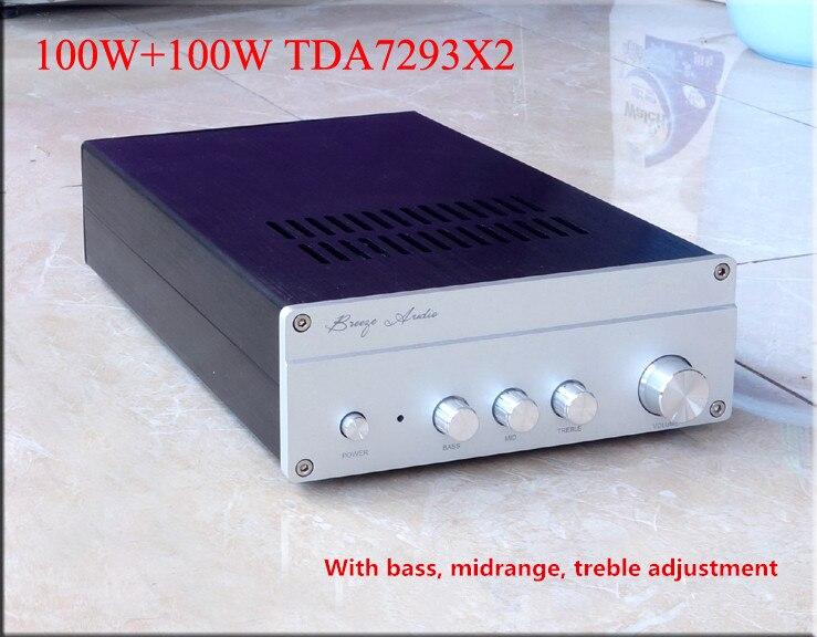 AMPLIFICADOR DE POTENCIA breeze audio AT100 AC220V 100W + 100W TDA7293 con ajuste triple de bajo medio