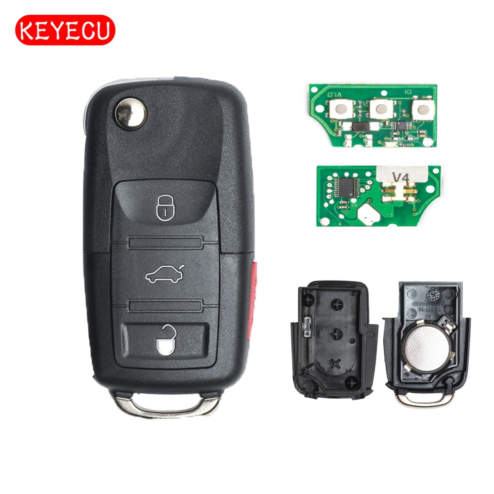 Keyecu 5 ID48 pçs/lote Dobrar Chave Remota 315 mhz Chip para VW Volkswagen GTI Jetta 2005-2010-1K0 959 753 p