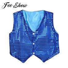 Kids Boys Modern Jazz Hip Hop Choir Dance Wear Stage Dance Costume Tank Leotards Vest Dancing Shiny Glitter Sequins Waistcoat