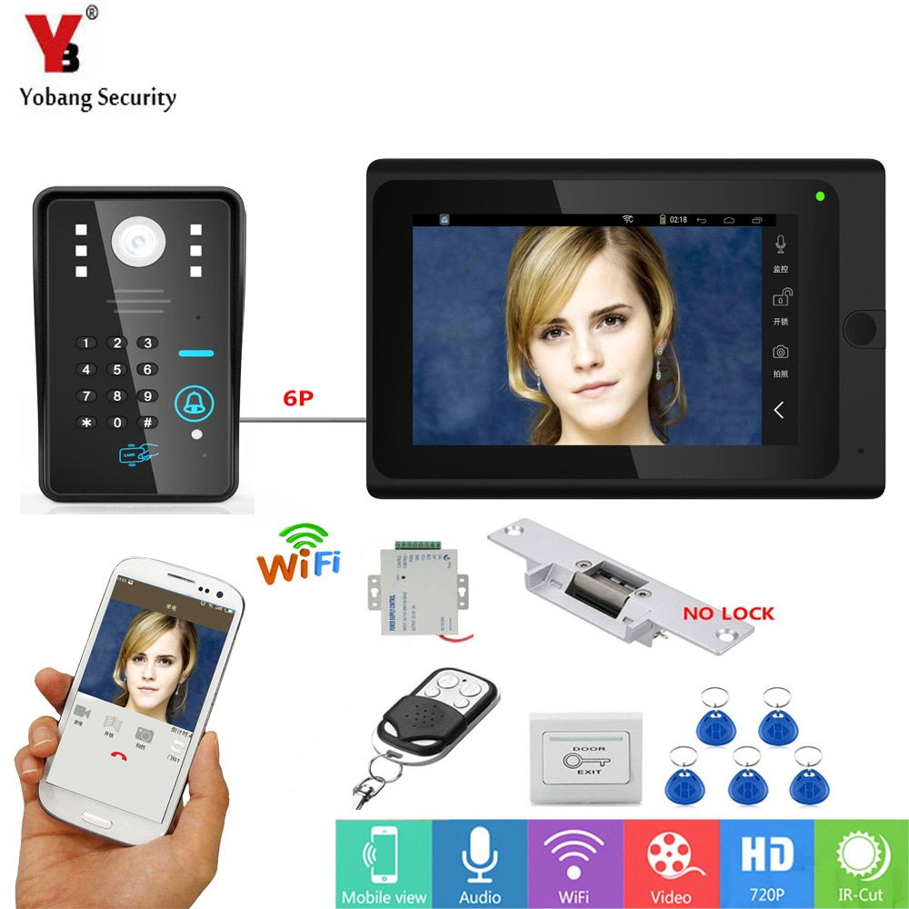 YobangSecurity Video Intercom 7 Zoll Monitor Wifi Wireless Video Tür Telefon Türklingel + Elektronische Türschloss + Netzteil + schalter
