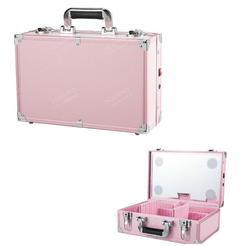 Caja de luces portátil profesional con espejo almacenamiento maquillaje LED caja de carga bordado herramientas de uñas bolsa multicapa