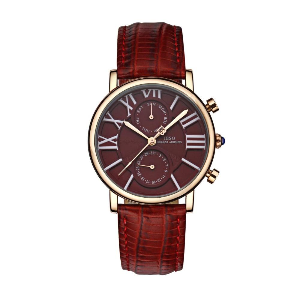 IBSO Женские повседневные часы Дата День розовое золото Тон наручные часы из натуральной кожи ремешок кварцевые часы 6802