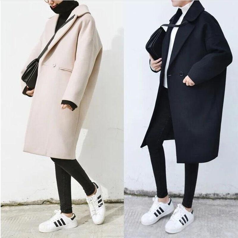 2018 Plus Size Long Wool Coat Women Autumn Women's Wool Coat Single Breasted Loose Thick Female Coat Winter Wool Coats