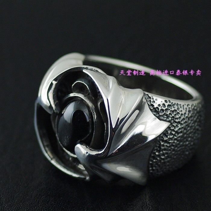Anillo de Plata de Ley 925 importado de Tailandia, anillo de plata de alas de demonio de piedra de estrella