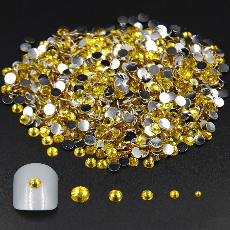 Diamantes de imitación acrílicos para decoración 3D para uñas de 2mm 3mm 4mm 5mm, tamaños mixtos, 2000 Uds.