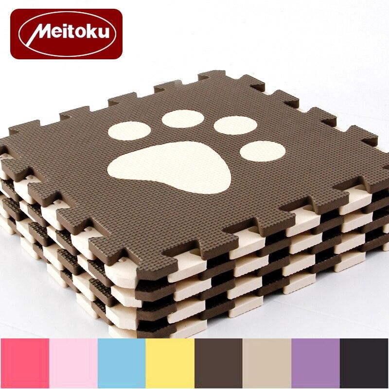 Meitoku 10pc/set Baby EVA Foam Play Puzzle Mat,Interlocked crawl Tiles and Rug,Free magic Carpet Each Piece 32x32cm Thick 1cm