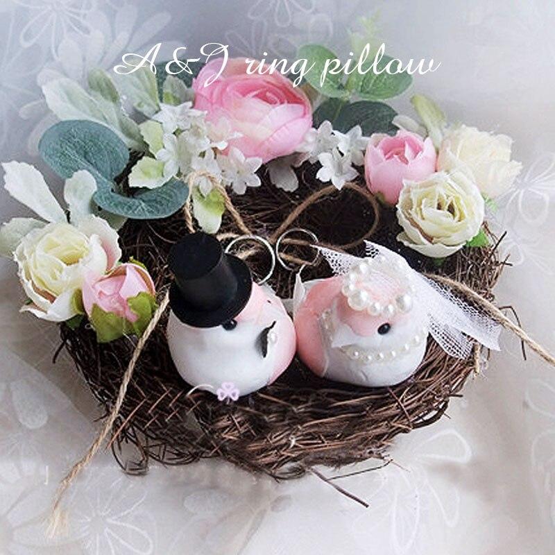 1 Uds lote nido de bosque pájaro anillo cojín portador compromiso boda foto accesorios boda propuesta anillo almohada