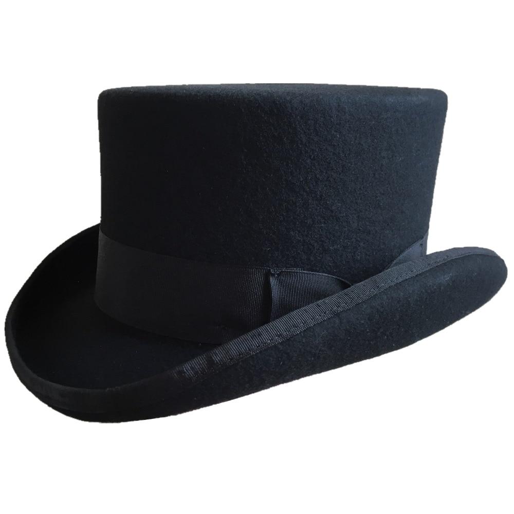 11,5 cm (4,5 pulgadas) fieltro de lana bajo sombrero corto/Sombrero estilo victoriano Steampunk/gorro cilíndrico/estufa pipa sombrero/Topper