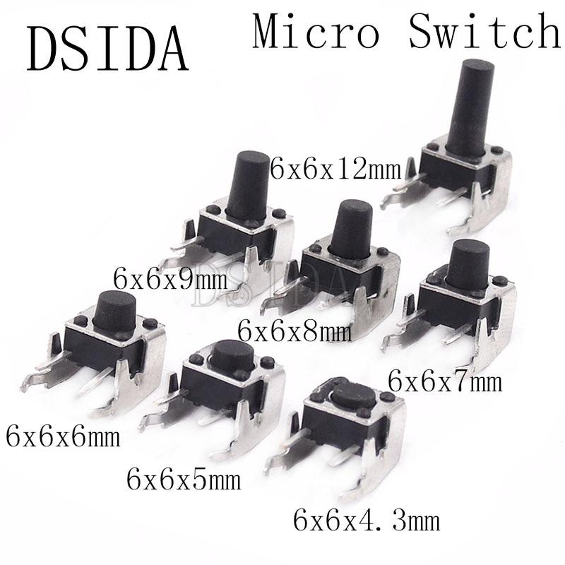 Interruptor de botón táctil momentáneo PCB con stent 6*6*4,3/5/6/7/8/9/12mm 6x6x4. 3/5/6/7/8/9/12 MM (20 unids/lote)