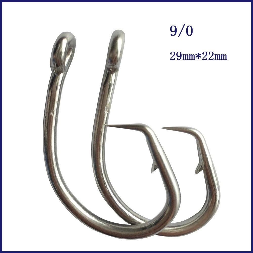 50 piezas 9/0 Mustad atún círculo gancho de pesca de acero inoxidable atún círculo anzuelo de pesca con púas gancho para pesca