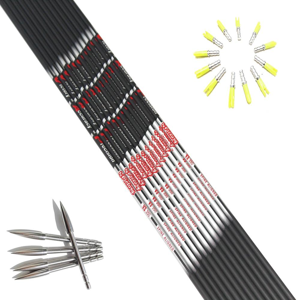 12pcs pure carbon arrow shaft ID4.2mm sp350/400/500/600+12pcs pin nock+12pcs Stainless steel target point for DIY недорого