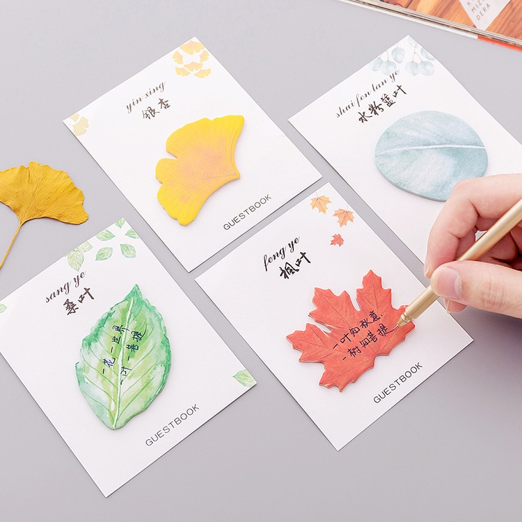 Lindo Kawaii hoja creativa Memo Pad notas adhesivas papelería etiqueta publicado planificador pegatinas cuadernos Oficina escuela suministros