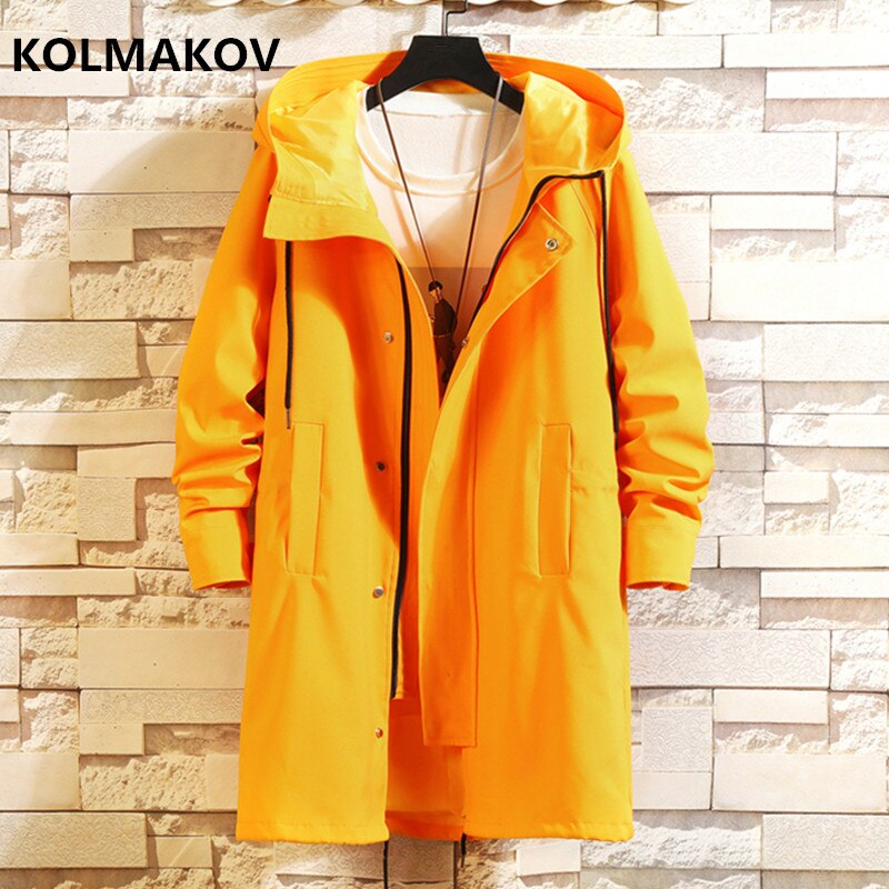 2019 Autumn Mens Casual Trench Coat  Hooded Windbreakers Male Waterproof Long Jackets men Loose Style size M- 5XL,6XL