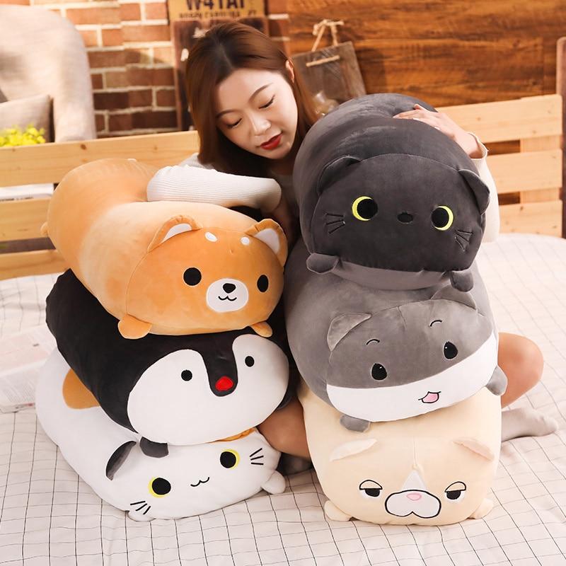 Animais longos brinquedo de pelúcia recheado squishy animal reforçar travesseiro cão gato shiba inu pinguim cilíndrico plushie brinquedo dormindo amigo