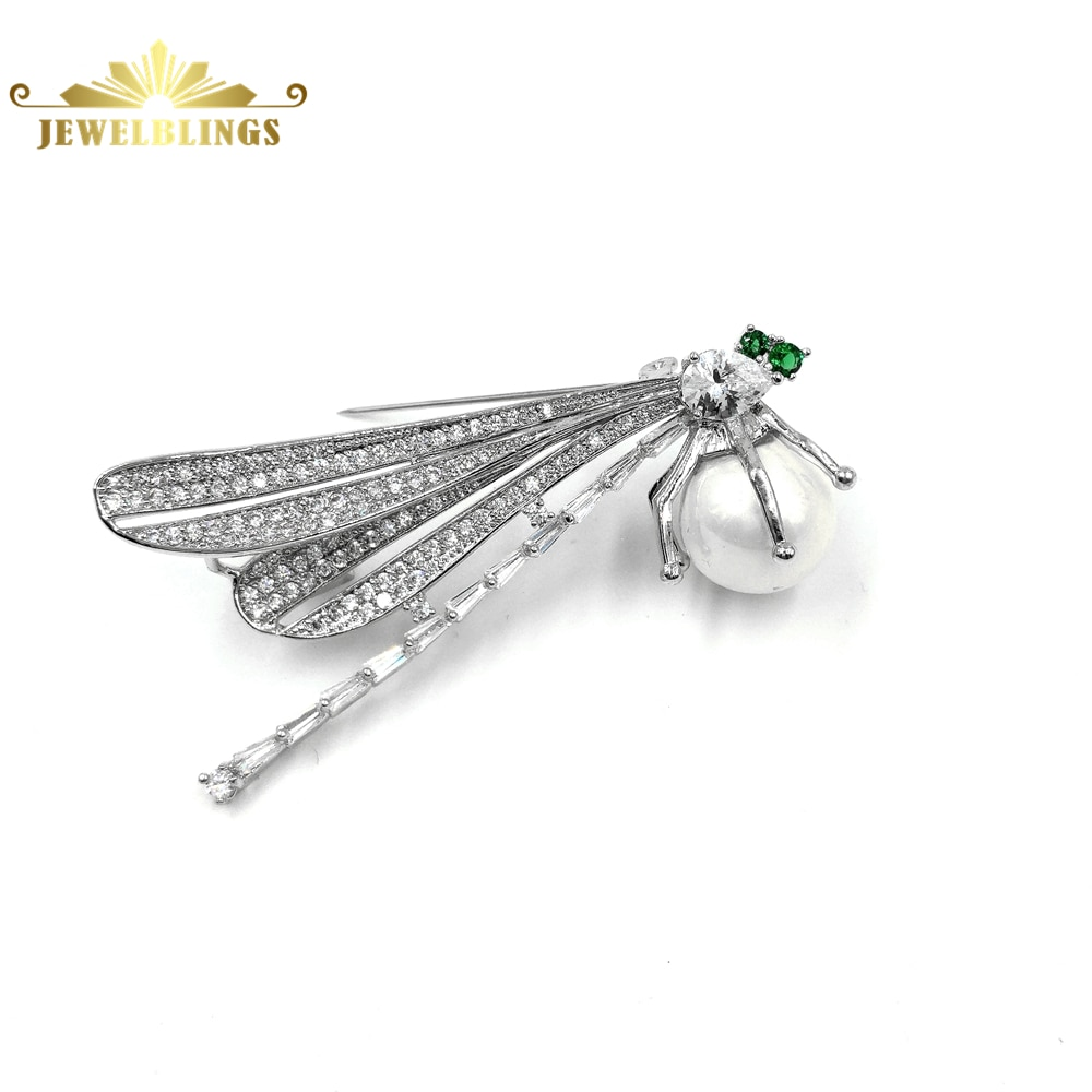 Vintage imitación de perla Pave CZ perfil blanco libélula broche Baguette cola cortada ojos verdes libélula Pin mujer insectos joyería