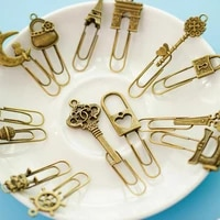 10 piecelot cute metal bookmark vintage key bookmarks paper clip for book stationery school office book marks free shipping