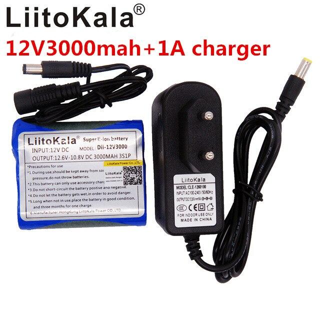 Liitokala Новая камера 12 V 3000 mAh Li-Ion 12 V 3Ah камера батарея + зарядное устройство 12,6 V 1A ЕС/вилка США