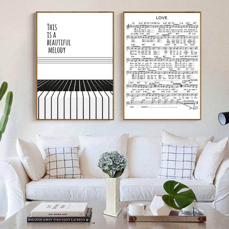 Negro Nórdico y blanco nota música Piano clave lienzos de pintura impresos pósteres imágenes para pared café casa Bar Ballet habitación Decoración