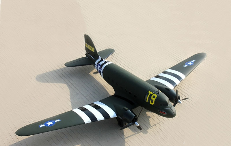 Dynam 1470MM C47 Skybus RC RTF Propeller Plane W/ Motor Servos Battery TH03721