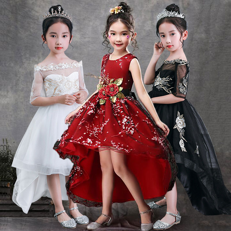 Girls Sleeveless Princess Children Handmade Flowers Girl Dress For Wedding 3-14 Years Girls Trailing Party Prom Dresses