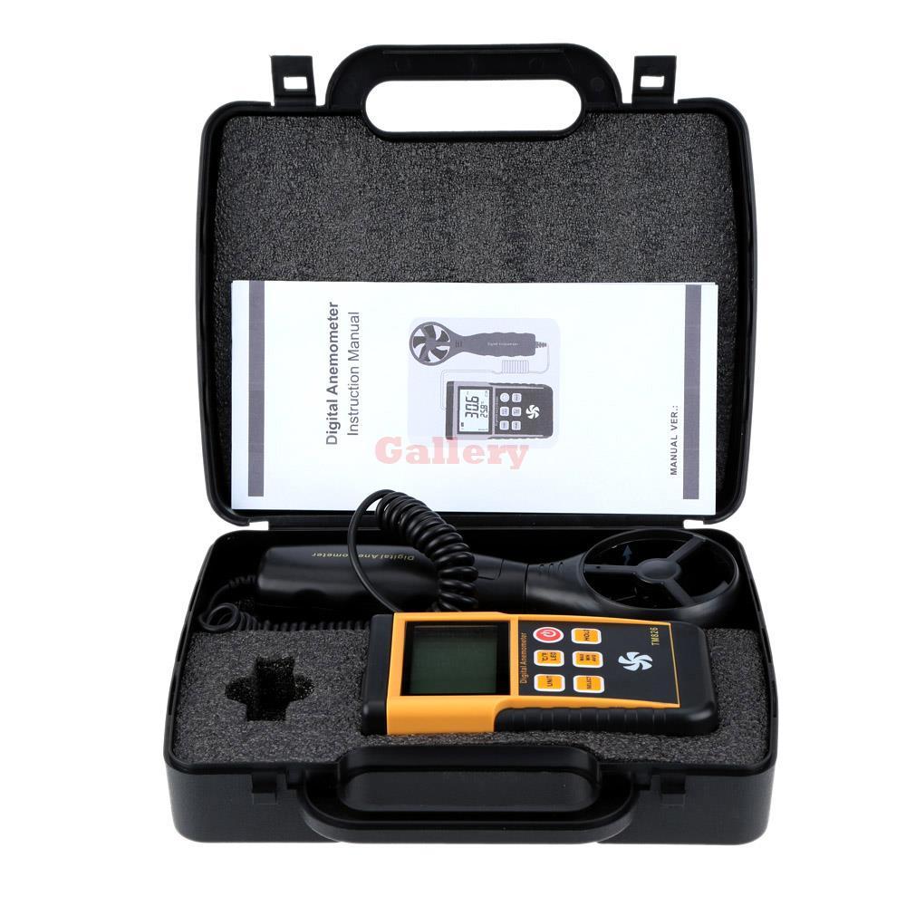 مقياس شدة الريح الرقمي المحمول 0-45m S ، شاشة Lcd عالية الدقة ، قياس سرعة الهواء ودرجة الحرارة