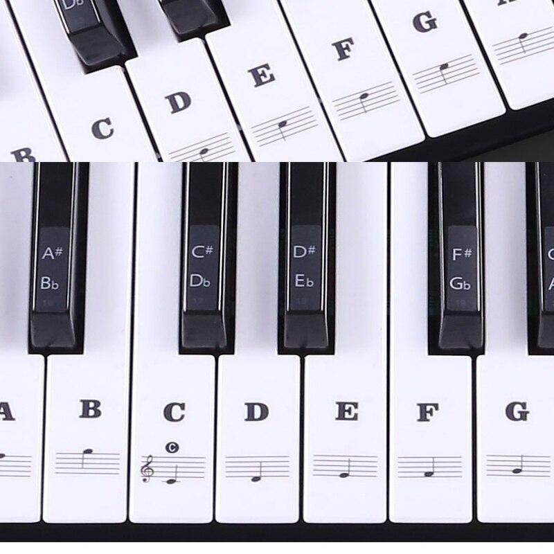 Teclado de Piano transparente pegatina extraíble teclado electrónico 37/49/54/61/88 tecla pegatina de Piano niños principiantes práctica Piano