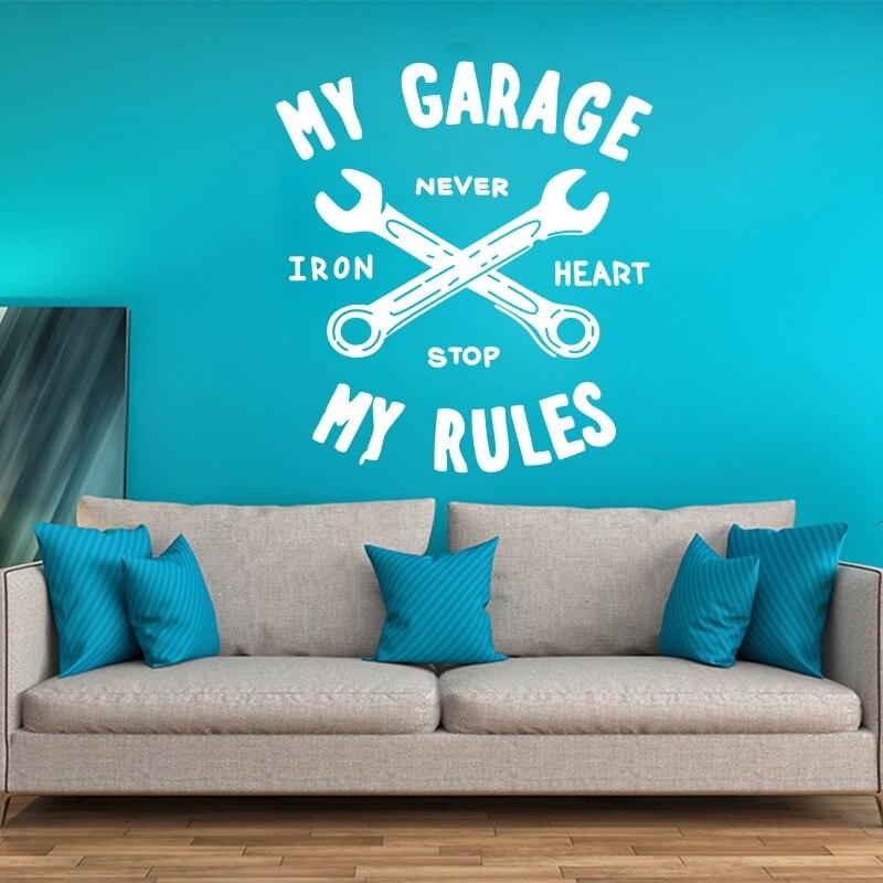 "YOYOYU, calcomanía de vinilo para pared, pegatina artística, decoración para el hogar, adhesivo, calcomanía para Mural ""My Garage My Rules"", póster extraíble, póster para Mural YO484"