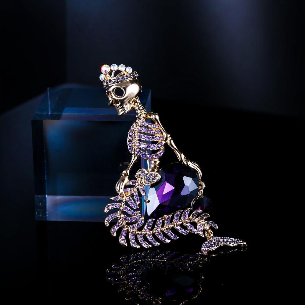 Tuliper брошь Mermaid Skull Jewelry Brooches For Women Crown Skeleton Broche Femme Crystal Rhinestone Pin Party Unisex Homme