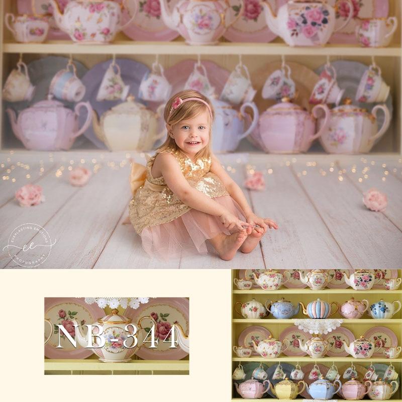 Telón de fondo fotográfico para recién nacido, Baby Shower, telón de fondo fotográfico, telón de fondo para estudio fotográfico, diferentes tazas, utilería