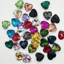 6mm-18mm 50pcs Peach Heart shape crystal glass pointback loose rhinestones diy/nail art/Clothing accessories