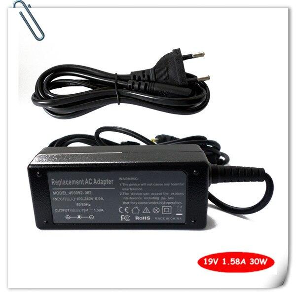 Adaptador de CA cable de alimentación para HP Mini 210-1076NR 210-1079NR 210-1032CL 210-1170NR 210-1010nr 19V 1.58A cargador de batería de portátil
