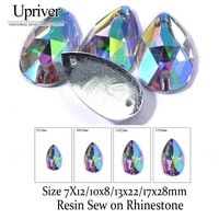 upriver 100pcslot drop resin crystal ab flat back with holes resin sew on rhinestone beads stone for dress garment bag