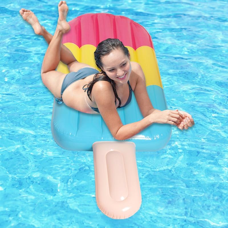 Popsicle flotador fila inflable bloque de hielo flotador tipo alfombra tamaño enorme helado piscina flotador inflable colchoneta de piscina agua cama flotante